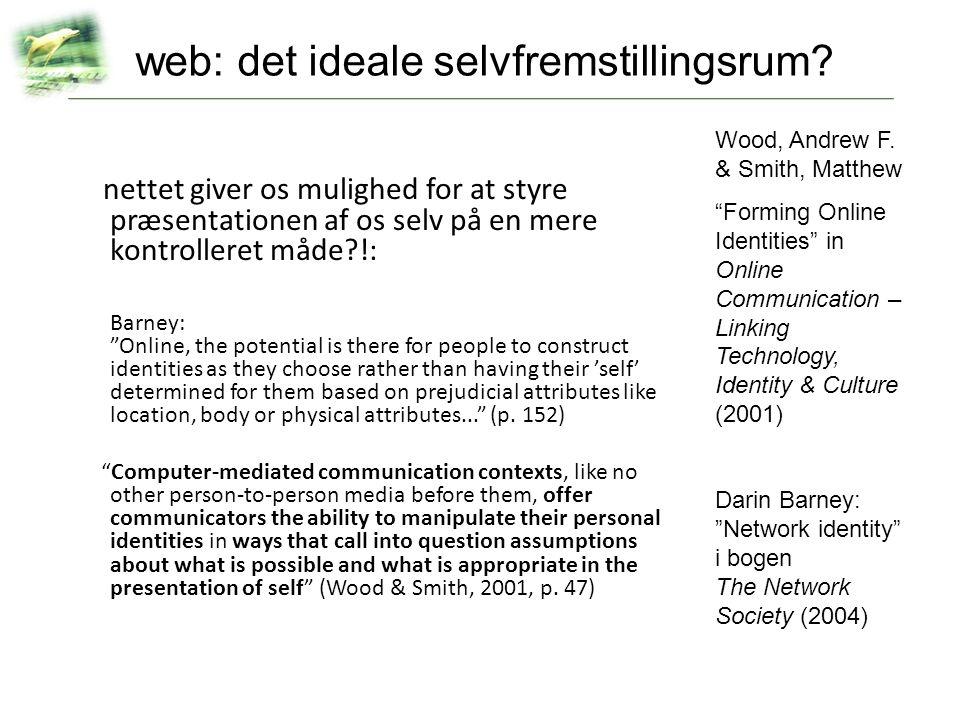 web: det ideale selvfremstillingsrum