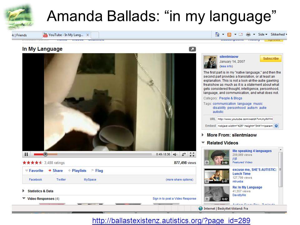 Amanda Ballads: in my language