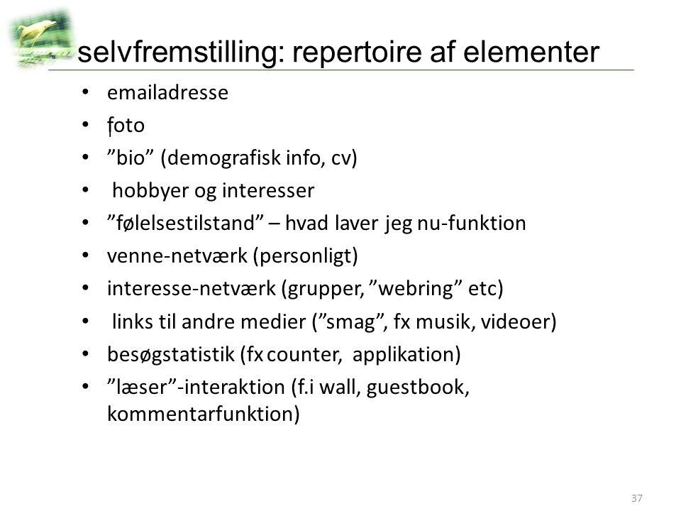 selvfremstilling: repertoire af elementer