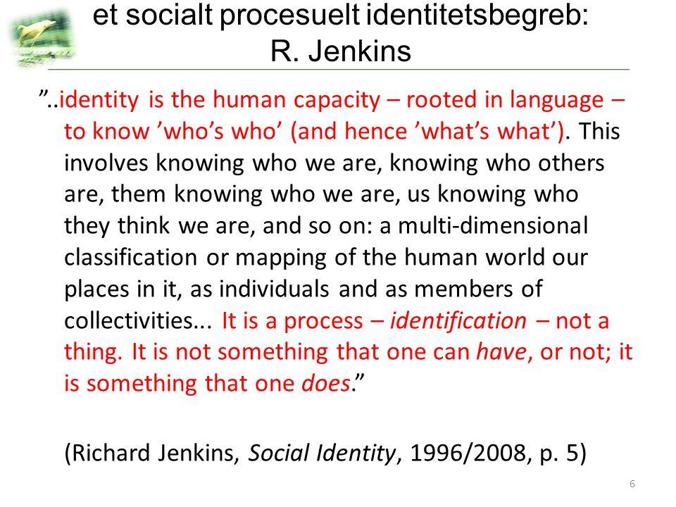 et socialt procesuelt identitetsbegreb: R. Jenkins