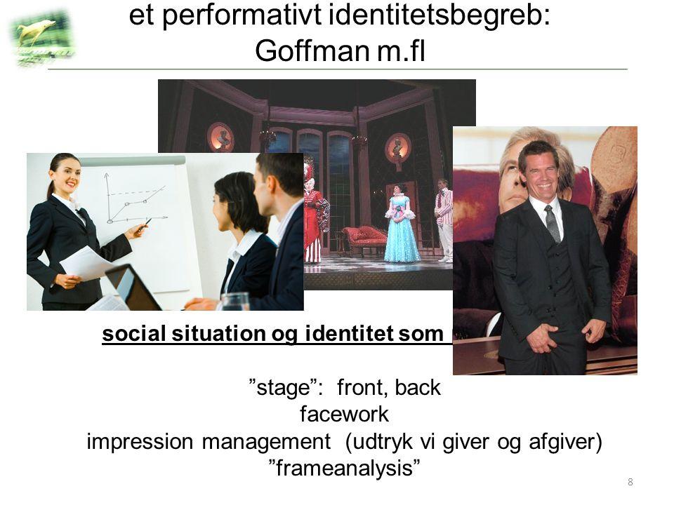 et performativt identitetsbegreb: Goffman m.fl