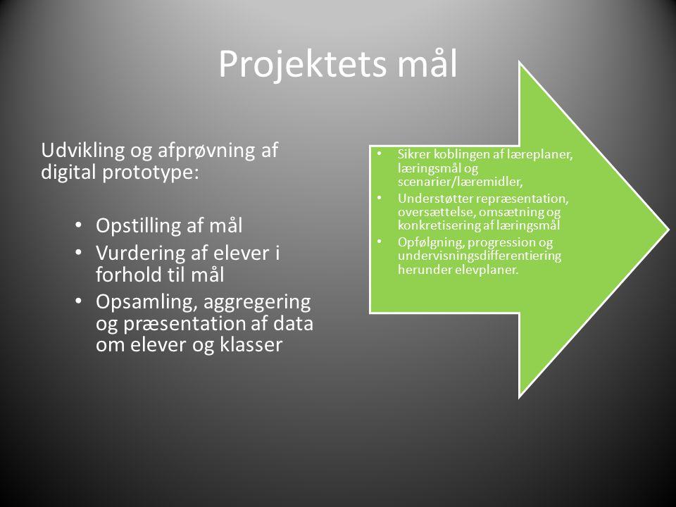 Projektets mål Udvikling og afprøvning af digital prototype: