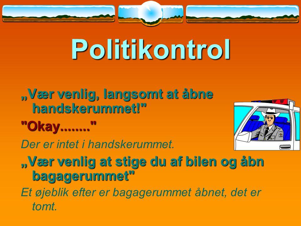 """Politikontrol """"Vær venlig, langsomt at åbne handskerummet!"""