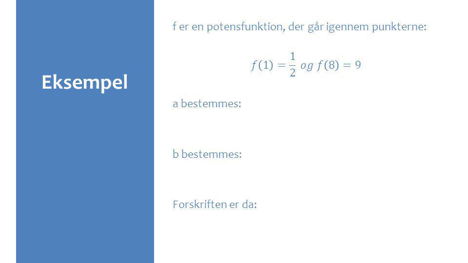 Eksempel f er en potensfunktion, der går igennem punkterne: 𝑓 1 = 1 2 𝑜𝑔 𝑓 8 =9 a bestemmes: b bestemmes: Forskriften er da: