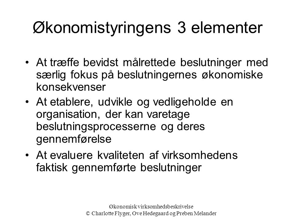 Økonomistyringens 3 elementer