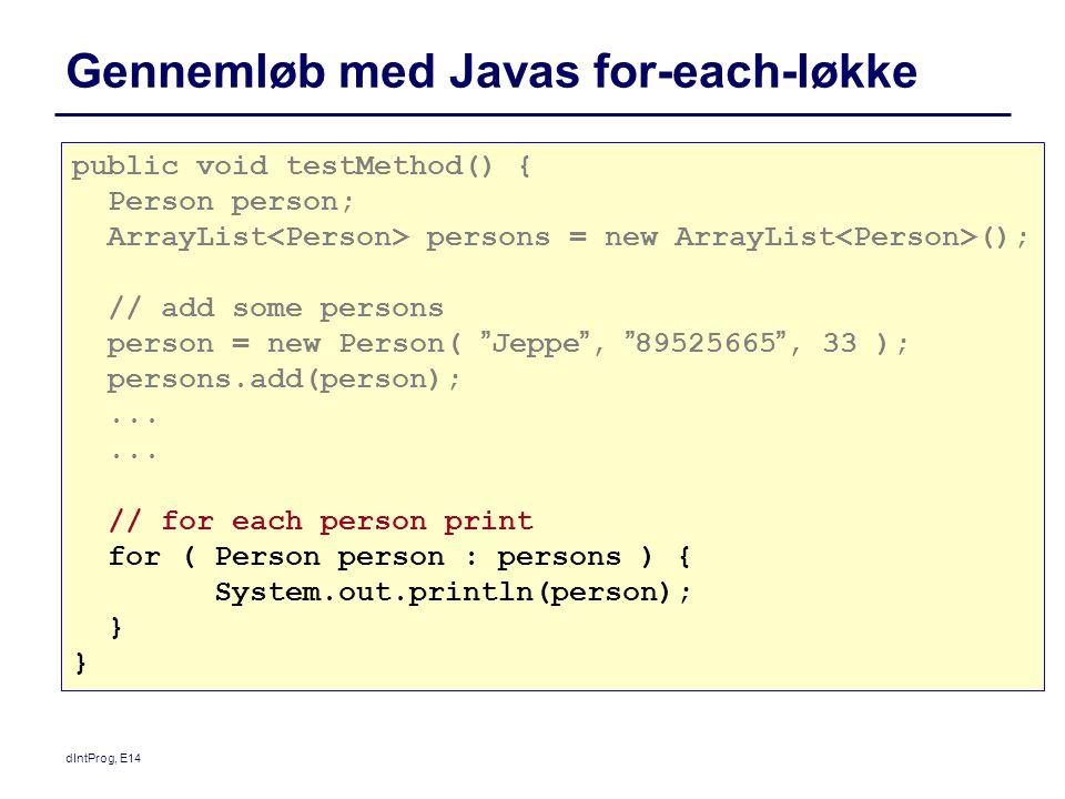 Gennemløb med Javas for-each-løkke