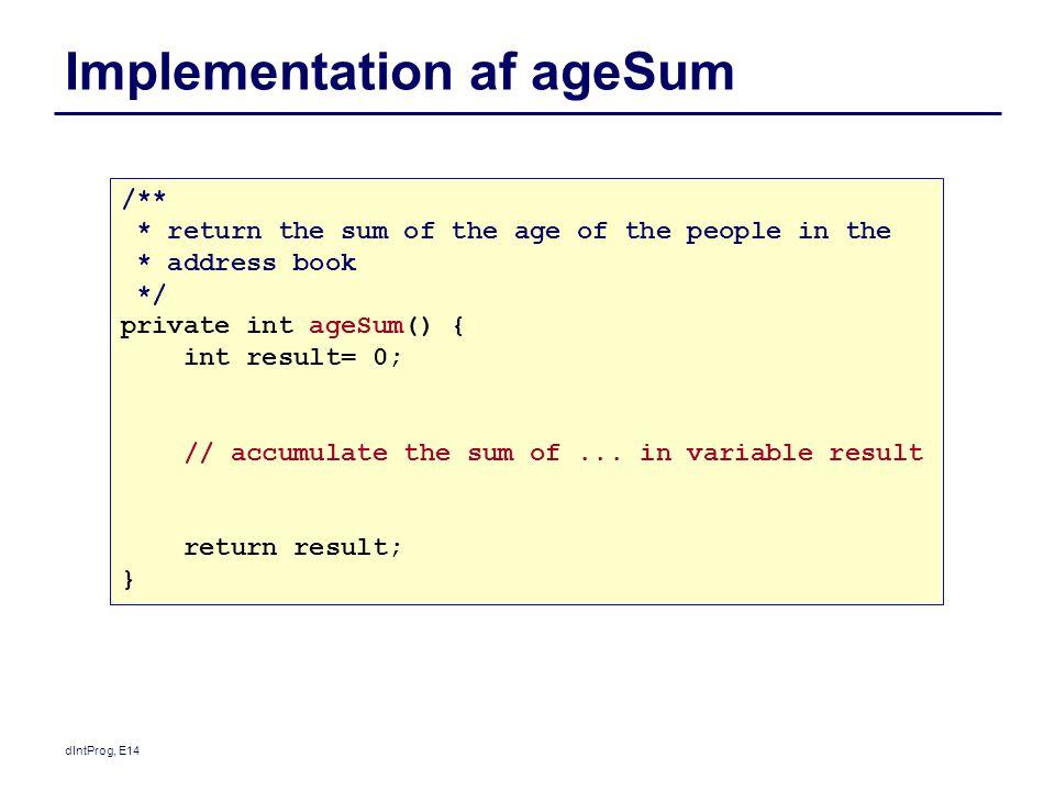 Implementation af ageSum