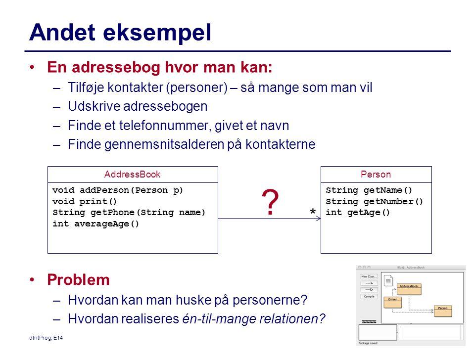 Andet eksempel * En adressebog hvor man kan: Problem