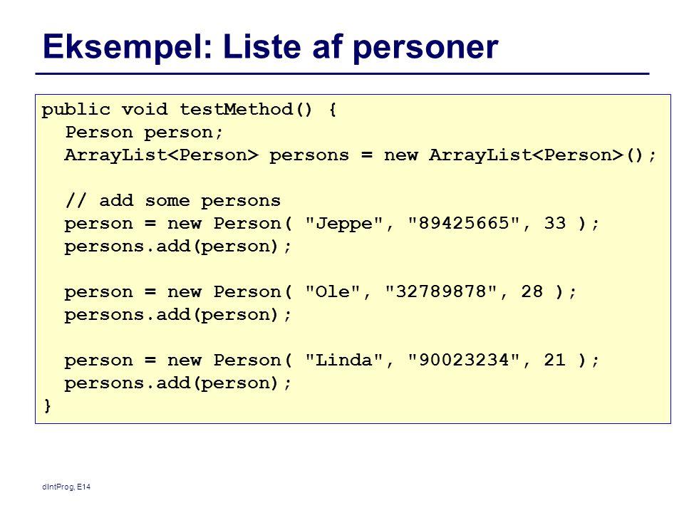 Eksempel: Liste af personer