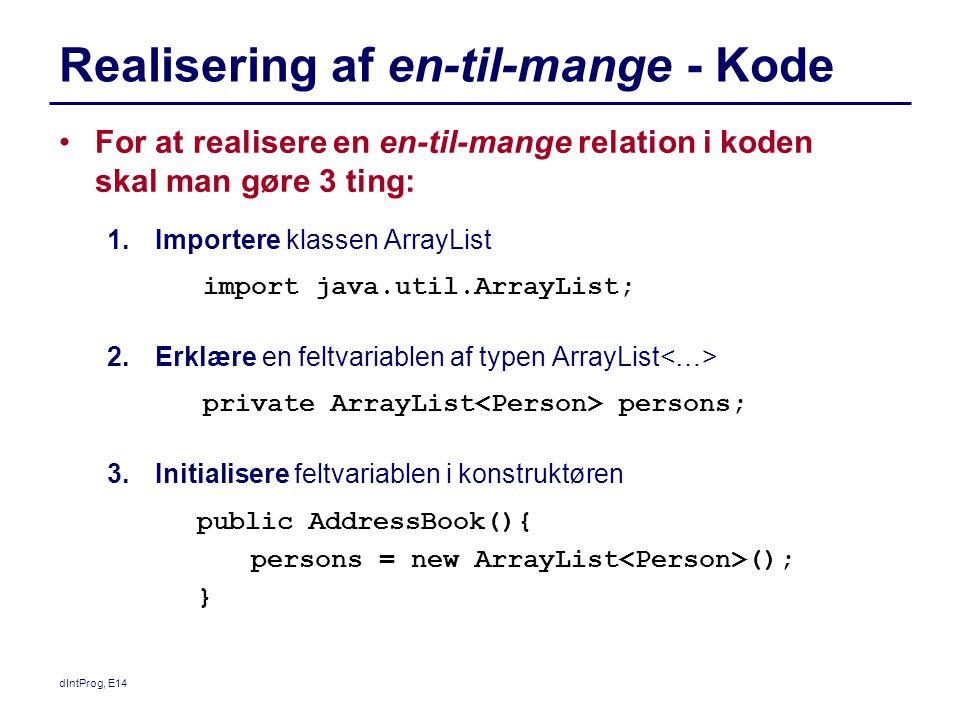 Realisering af en-til-mange - Kode