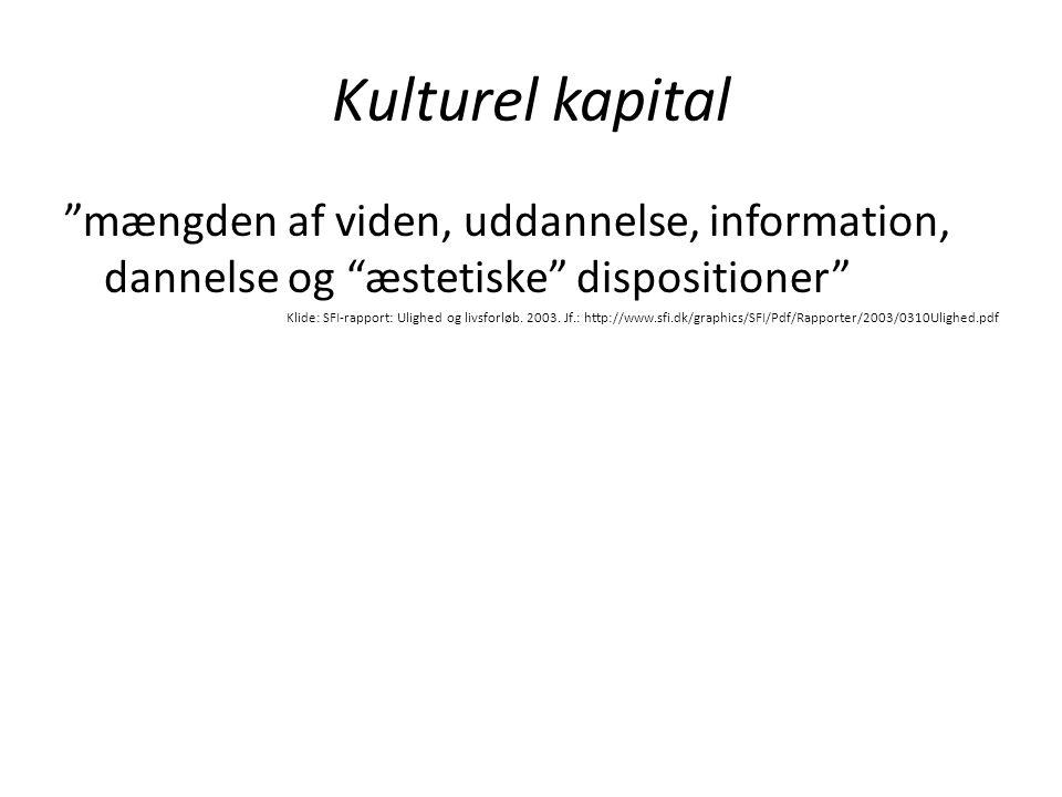 Kulturel kapital mængden af viden, uddannelse, information, dannelse og æstetiske dispositioner