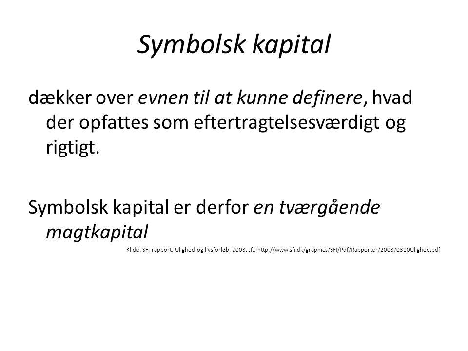 Symbolsk kapital dækker over evnen til at kunne definere, hvad der opfattes som eftertragtelsesværdigt og rigtigt.