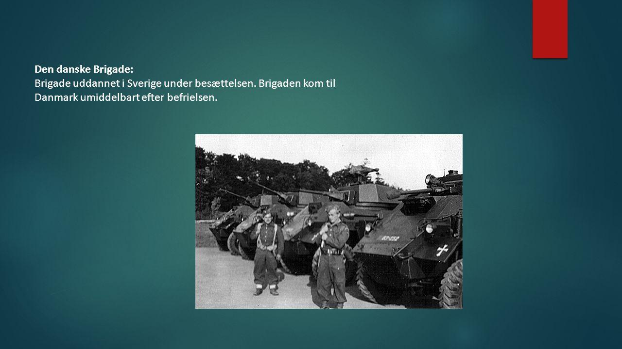 Den danske Brigade: Brigade uddannet i Sverige under besættelsen.