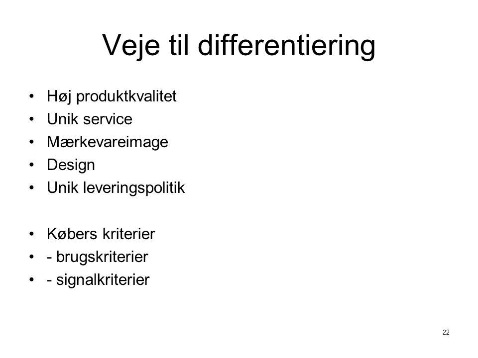 Veje til differentiering