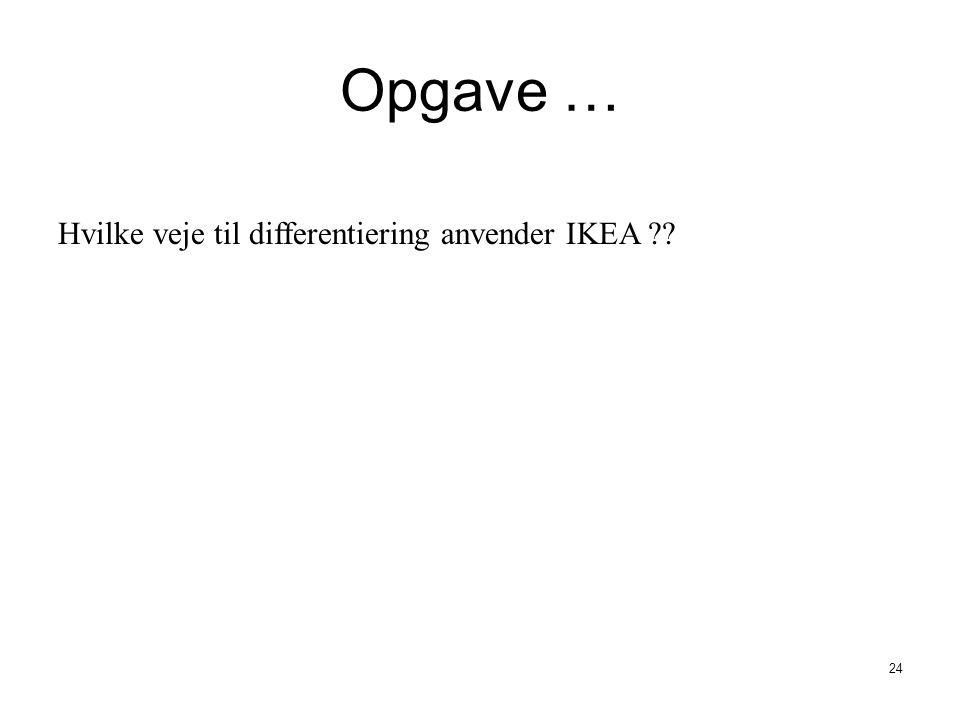 Opgave … Hvilke veje til differentiering anvender IKEA