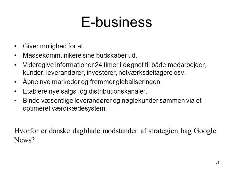 E-business Giver mulighed for at: Massekommunikere sine budskaber ud.