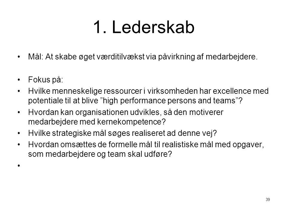 1. Lederskab Mål: At skabe øget værditilvækst via påvirkning af medarbejdere. Fokus på:
