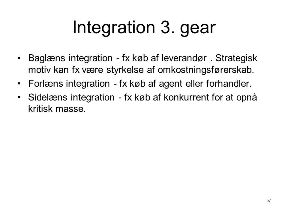 Integration 3. gear Baglæns integration - fx køb af leverandør . Strategisk motiv kan fx være styrkelse af omkostningsførerskab.