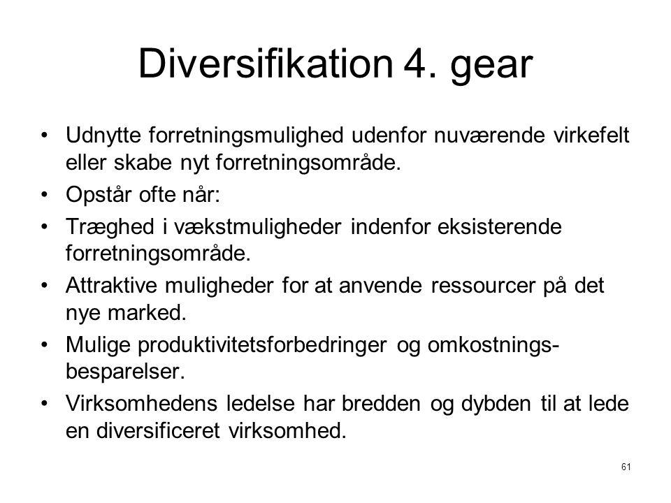 Diversifikation 4. gear Udnytte forretningsmulighed udenfor nuværende virkefelt eller skabe nyt forretningsområde.