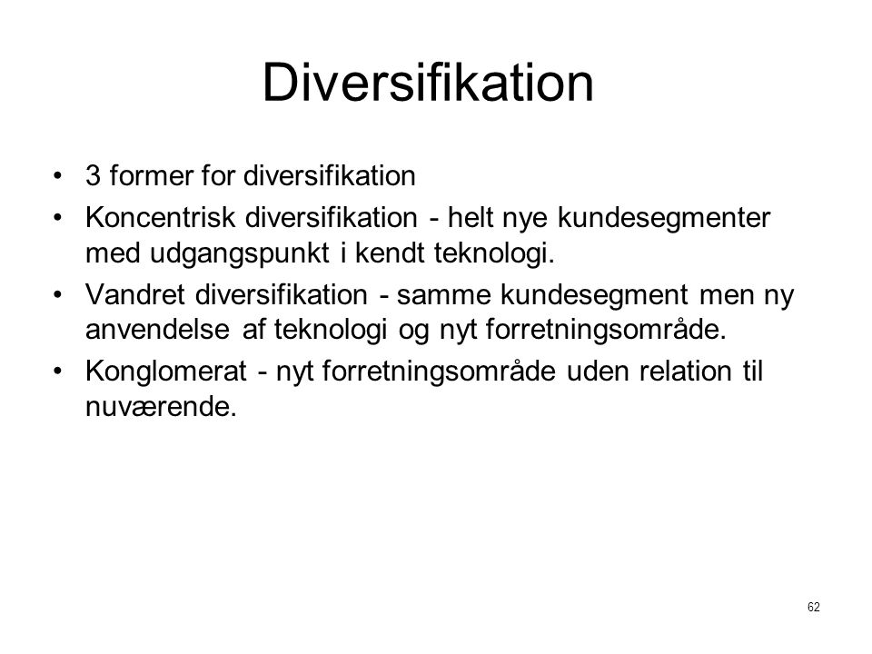 Diversifikation 3 former for diversifikation