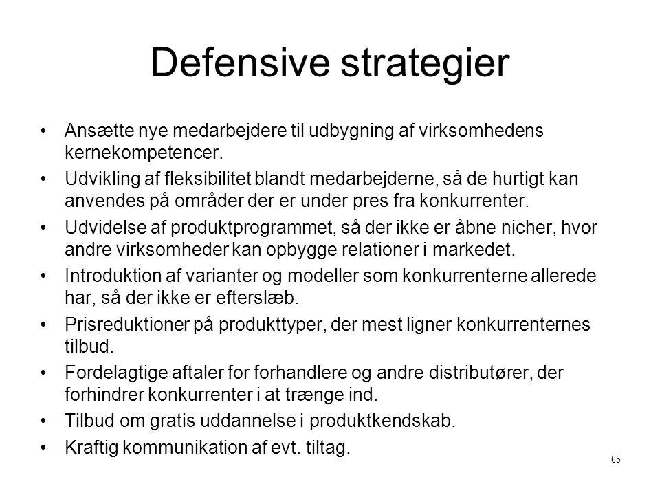 Defensive strategier Ansætte nye medarbejdere til udbygning af virksomhedens kernekompetencer.
