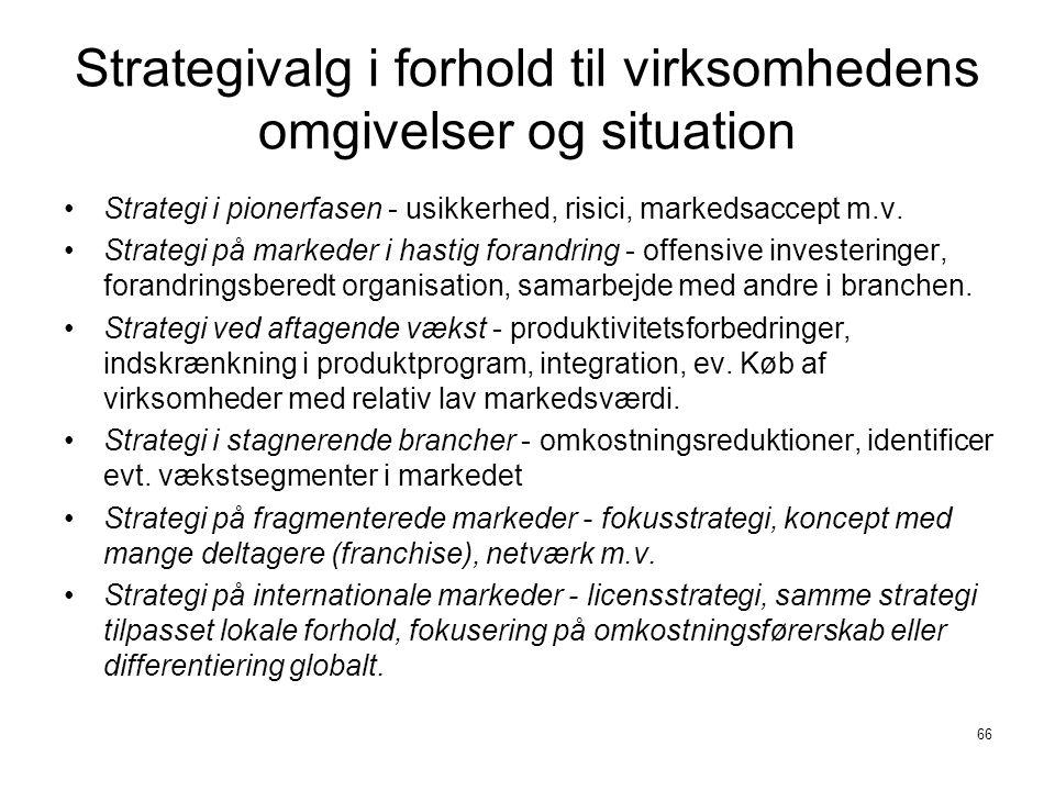 Strategivalg i forhold til virksomhedens omgivelser og situation