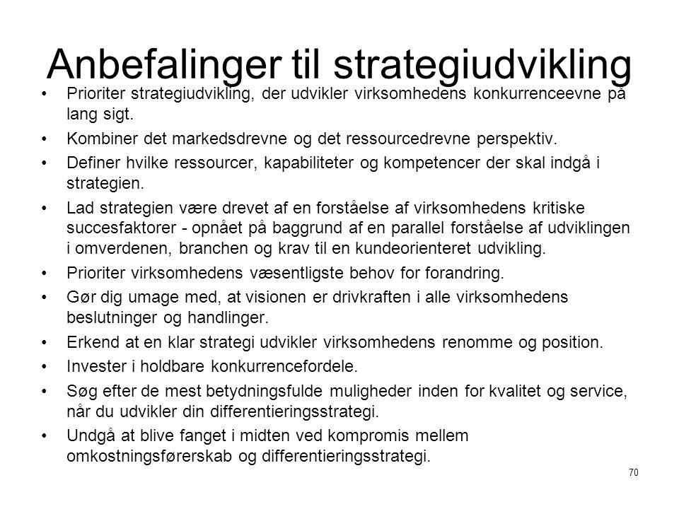 Anbefalinger til strategiudvikling