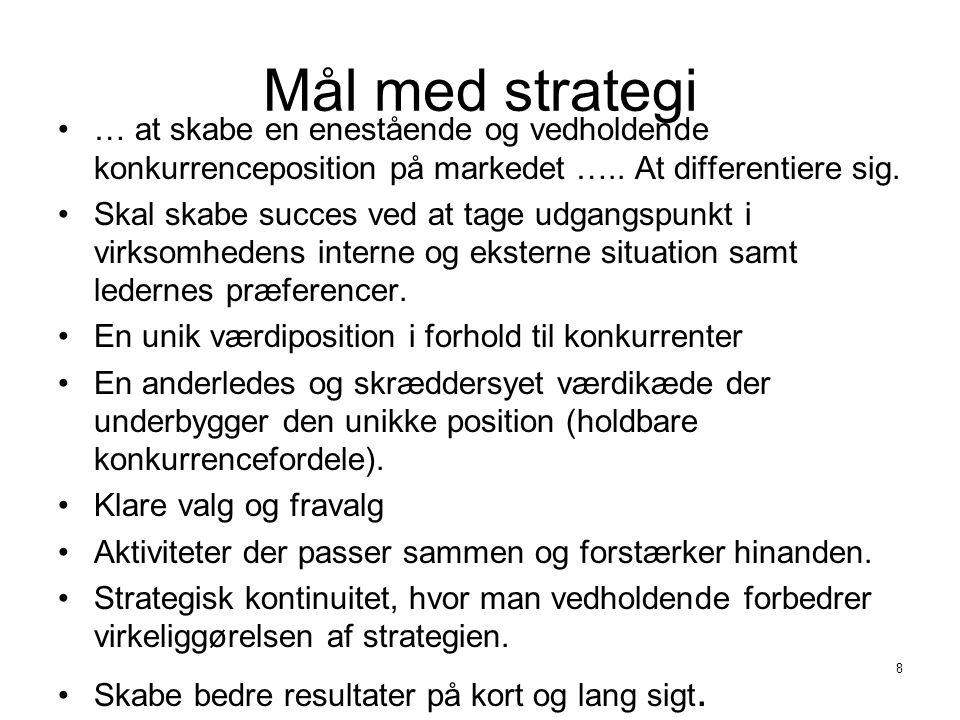 Mål med strategi … at skabe en enestående og vedholdende konkurrenceposition på markedet ….. At differentiere sig.