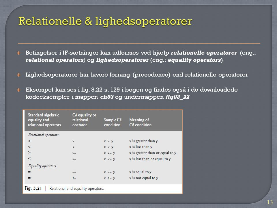Relationelle & lighedsoperatorer