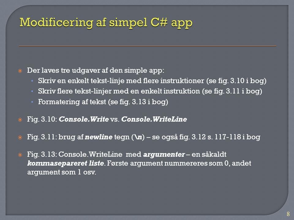 Modificering af simpel C# app