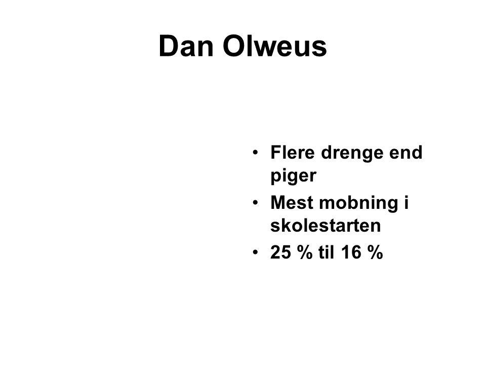 Dan Olweus Flere drenge end piger Mest mobning i skolestarten