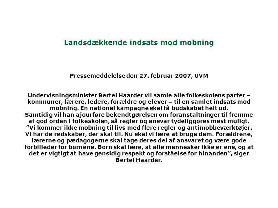 Landsdækkende indsats mod mobning Pressemeddelelse den 27