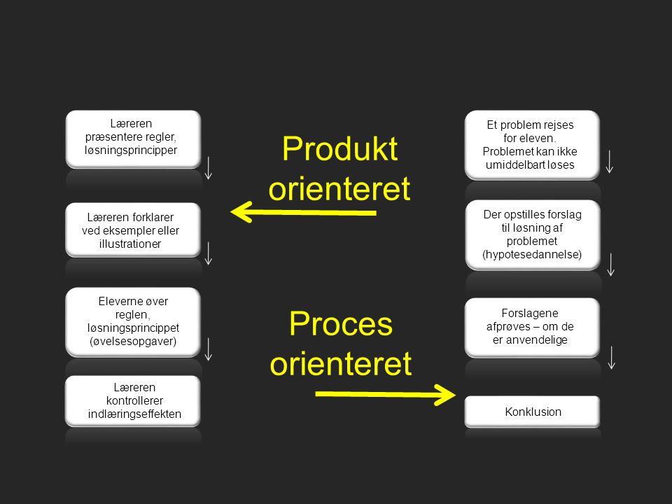 Produkt orienteret Proces orienteret