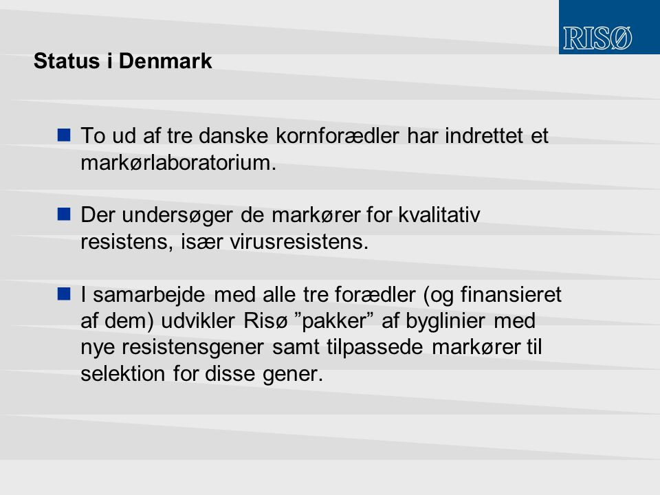 Status i Denmark To ud af tre danske kornforædler har indrettet et markørlaboratorium.