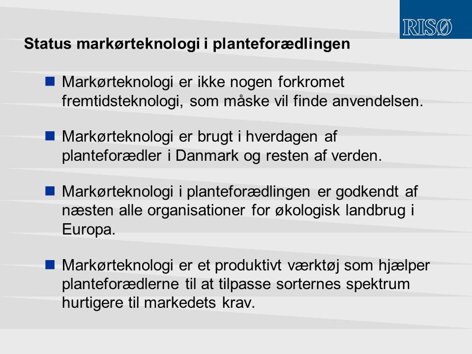 Status markørteknologi i planteforædlingen