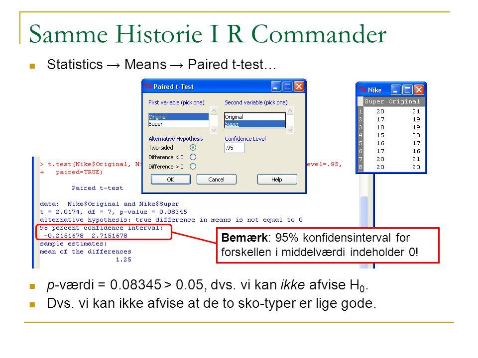 Samme Historie I R Commander