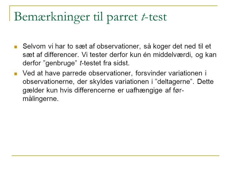 Bemærkninger til parret t-test
