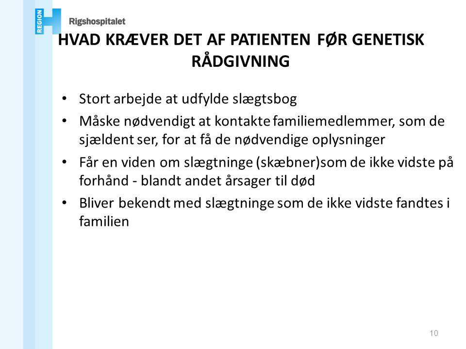 HVAD KRÆVER DET AF PATIENTEN FØR GENETISK RÅDGIVNING