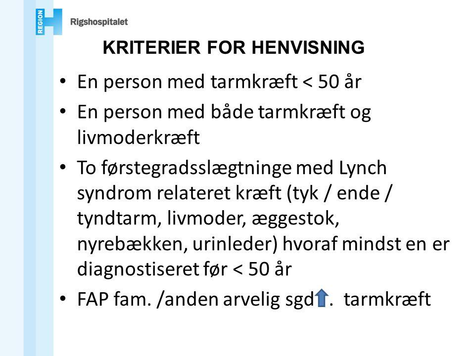 KRITERIER FOR HENVISNING