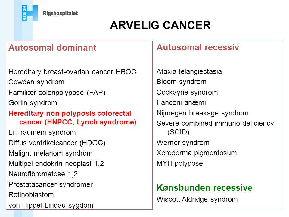 ARVELIG CANCER Autosomal dominant Autosomal recessiv