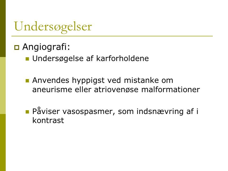 Undersøgelser Angiografi: Undersøgelse af karforholdene
