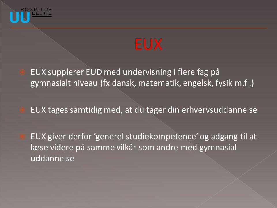 EUX EUX supplerer EUD med undervisning i flere fag på gymnasialt niveau (fx dansk, matematik, engelsk, fysik m.fl.)