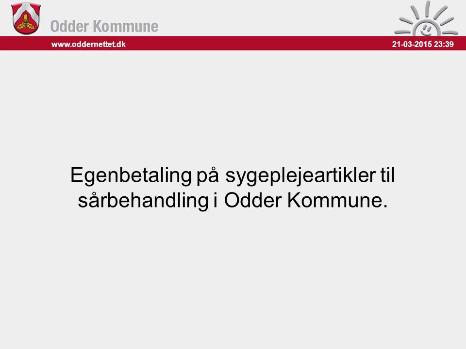 Egenbetaling på sygeplejeartikler til sårbehandling i Odder Kommune.