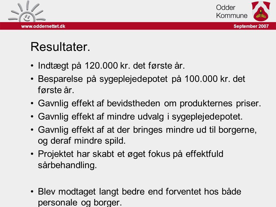 Resultater. Indtægt på 120.000 kr. det første år.