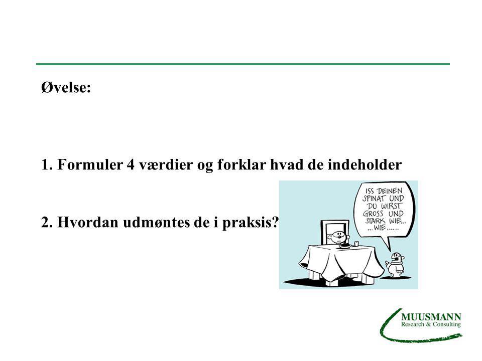 Øvelse: 1. Formuler 4 værdier og forklar hvad de indeholder 2. Hvordan udmøntes de i praksis