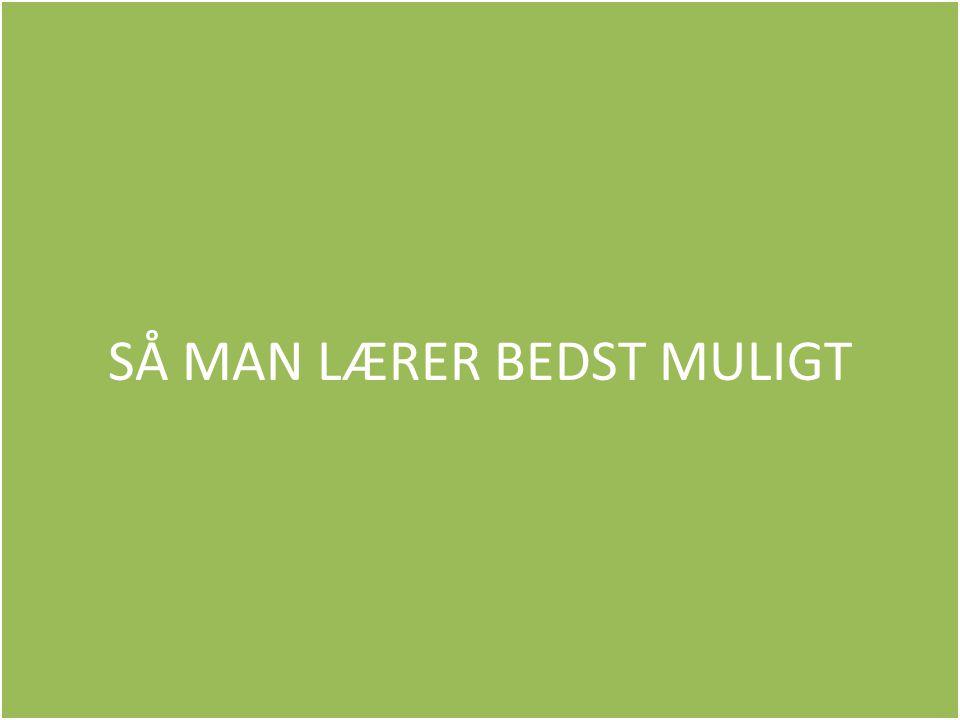 SÅ MAN LÆRER BEDST MULIGT