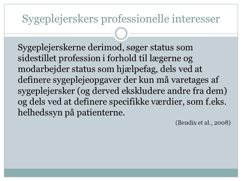 Sygeplejerskers professionelle interesser