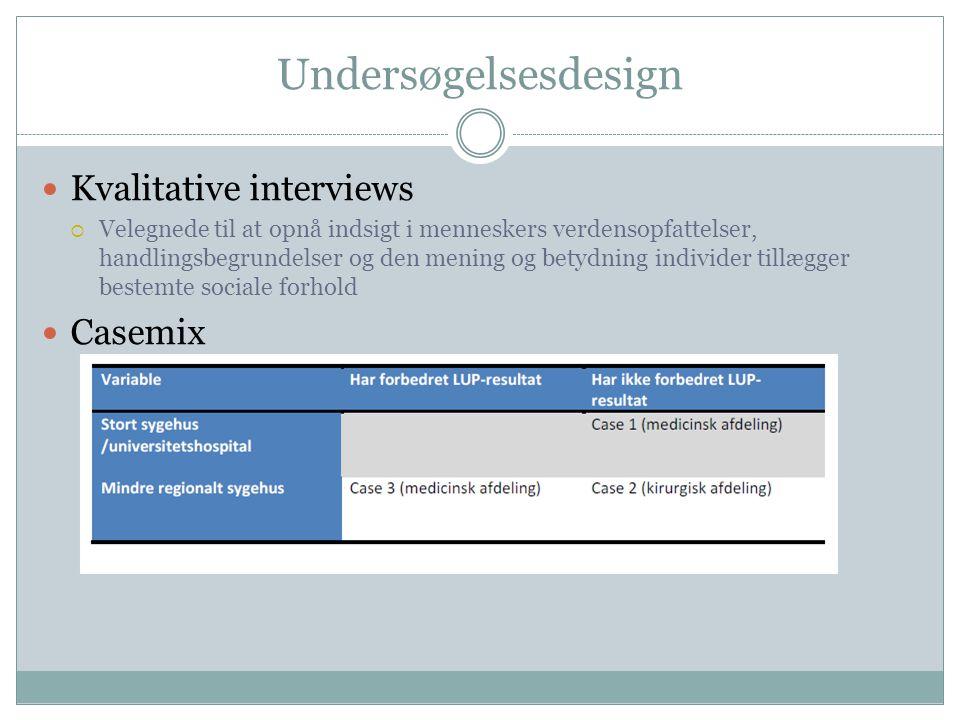 Undersøgelsesdesign Kvalitative interviews Casemix