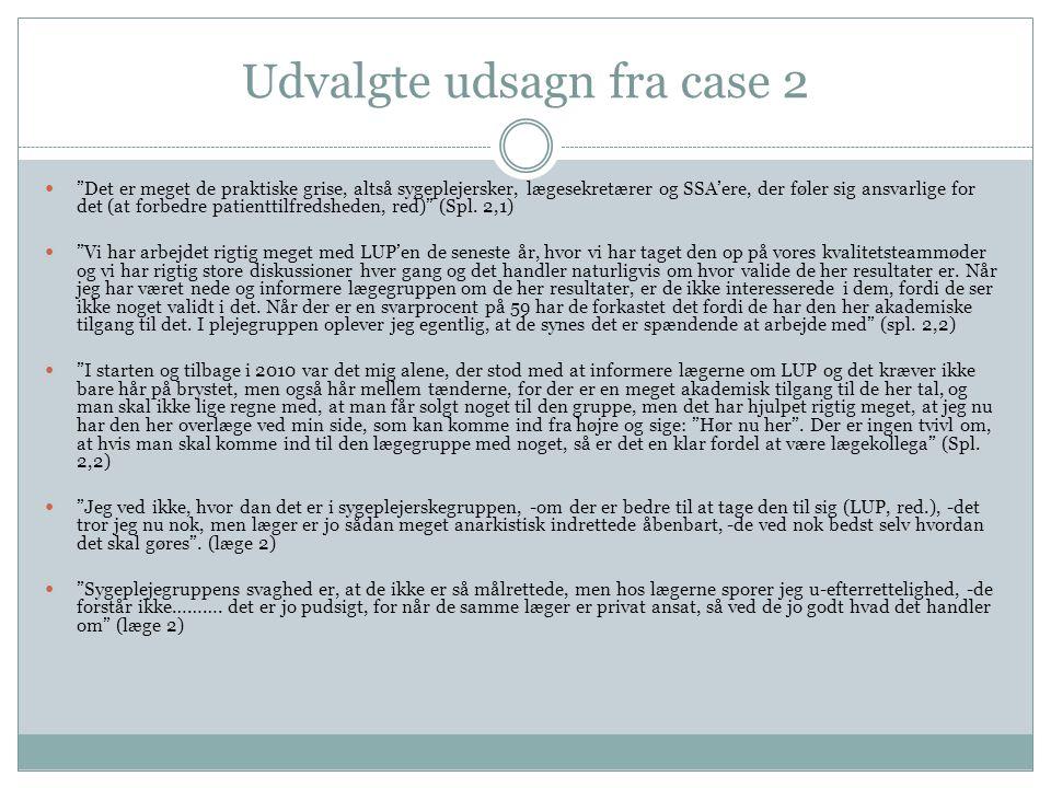 Udvalgte udsagn fra case 2