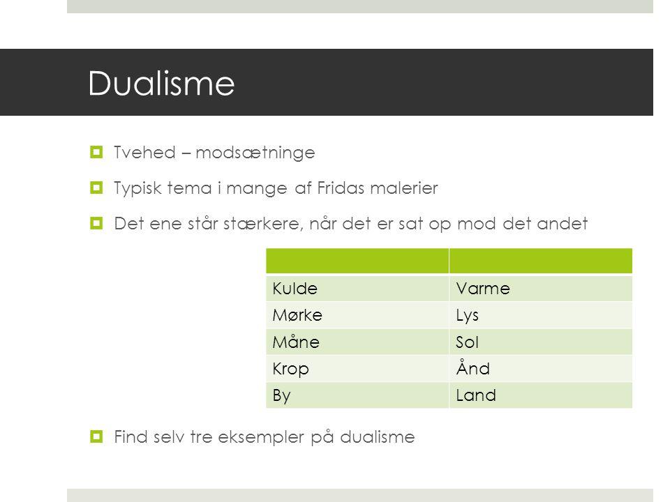 Dualisme Tvehed – modsætninge Typisk tema i mange af Fridas malerier